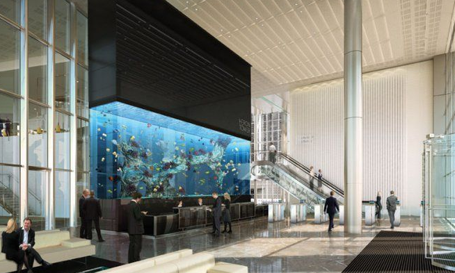 Reception area of the Salesforce Tower in Bishopsgate